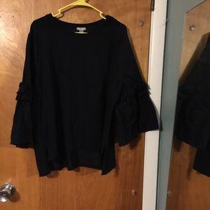 Falls Creek black bell sleeve blouse